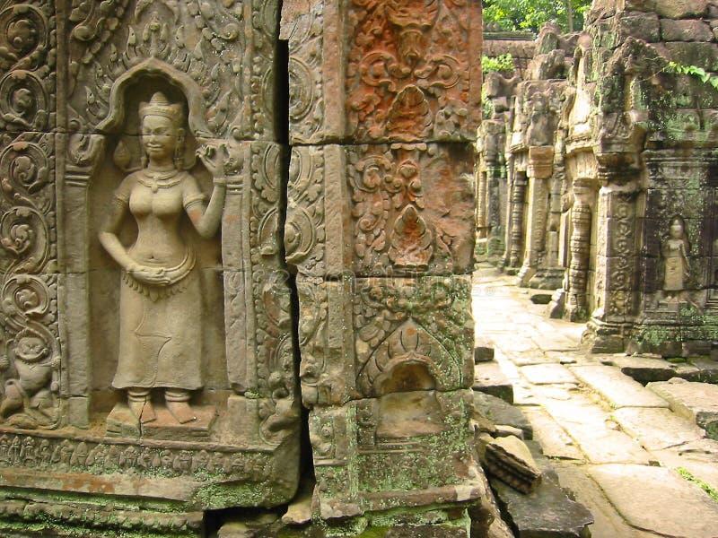 Angkor wat temple hallway asparas cambodia royalty free stock photo