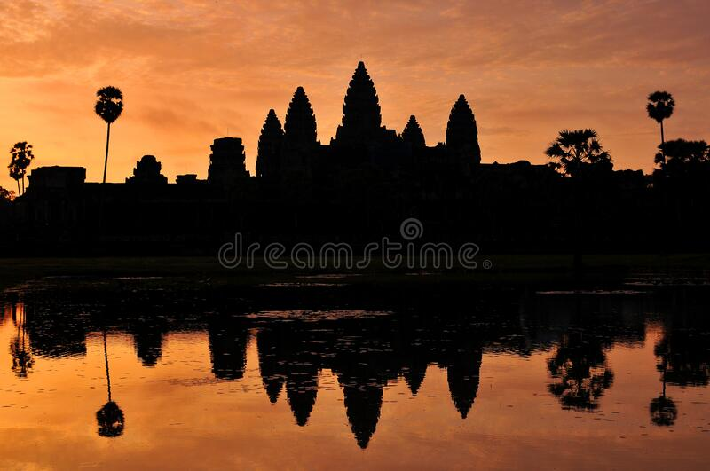 Angkor Wat Temple silhouette with sunset sky, Siem Reap, Cambodia.  royalty free stock photo