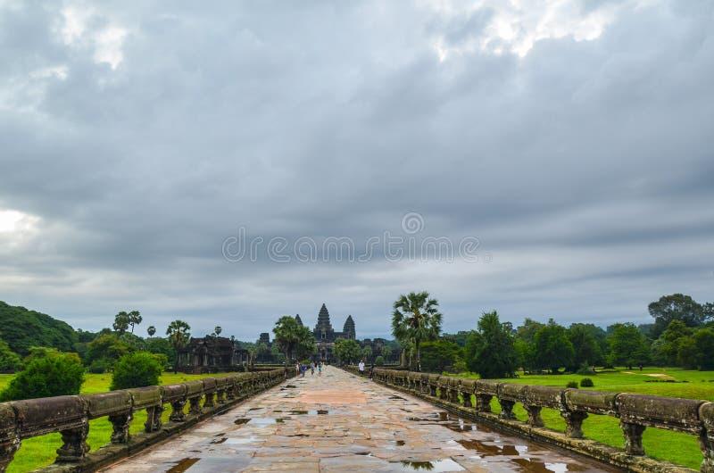 Angkor Wat Temple, UNESCOvärldsarv, Siem Reap landskap, Cambodja September 3, 2015 royaltyfri fotografi