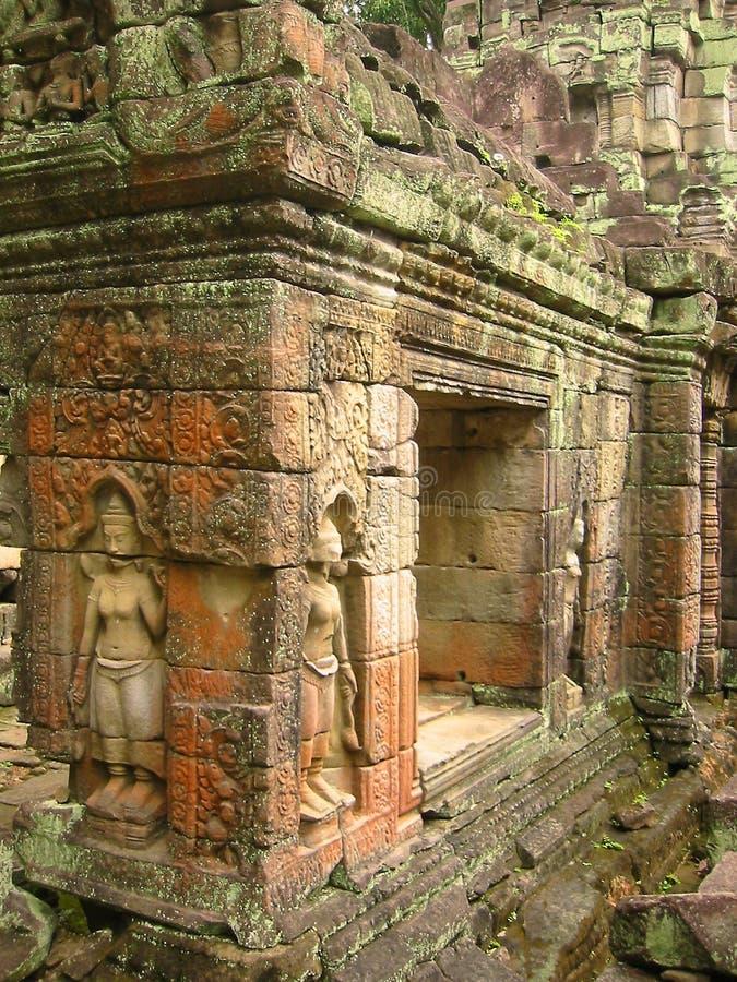 Angkor wat temple walls aspara carvings royalty free stock images