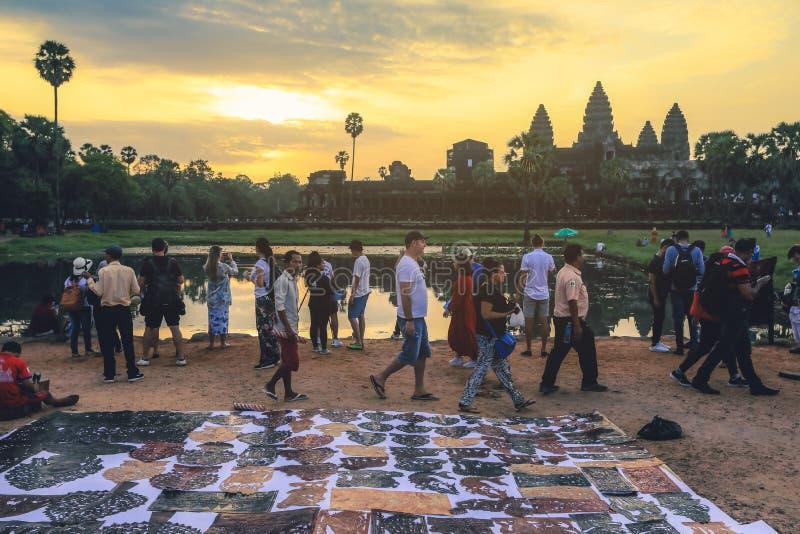 Angkor Wat vid soluppgången i Siem Reap royaltyfria foton
