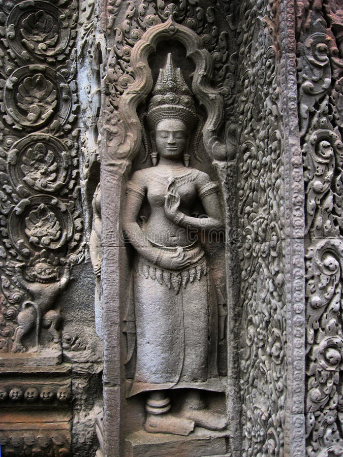 Angkor wat wall carving stock photo image