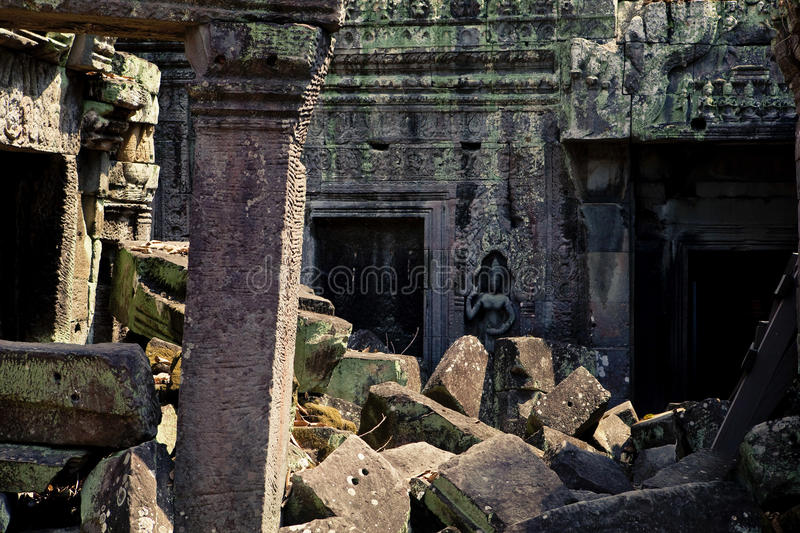 Angkor Wat. , one of the most beautiful and mysterious historical sites in the world. Located over 192 miles to the North-West of Cambodia's capital Phnom royalty free stock photo