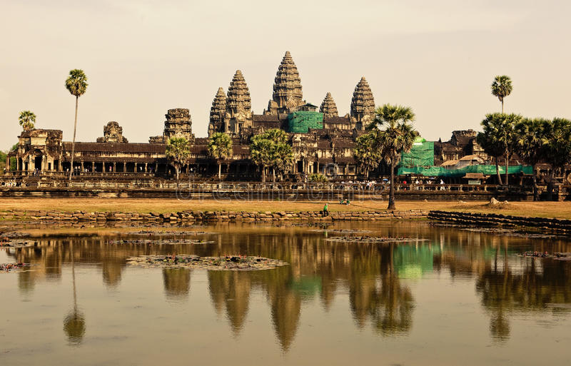 Angkor Wat. , one of the most beautiful and mysterious historical sites in the world. Located over 192 miles to the North-West of Cambodia's capital Phnom stock photos