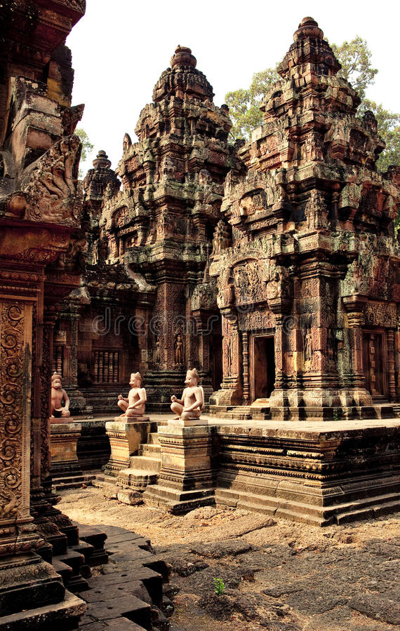 Angkor Wat. , one of the most beautiful and mysterious historical sites in the world. Located over 192 miles to the North-West of Cambodia's capital Phnom royalty free stock image
