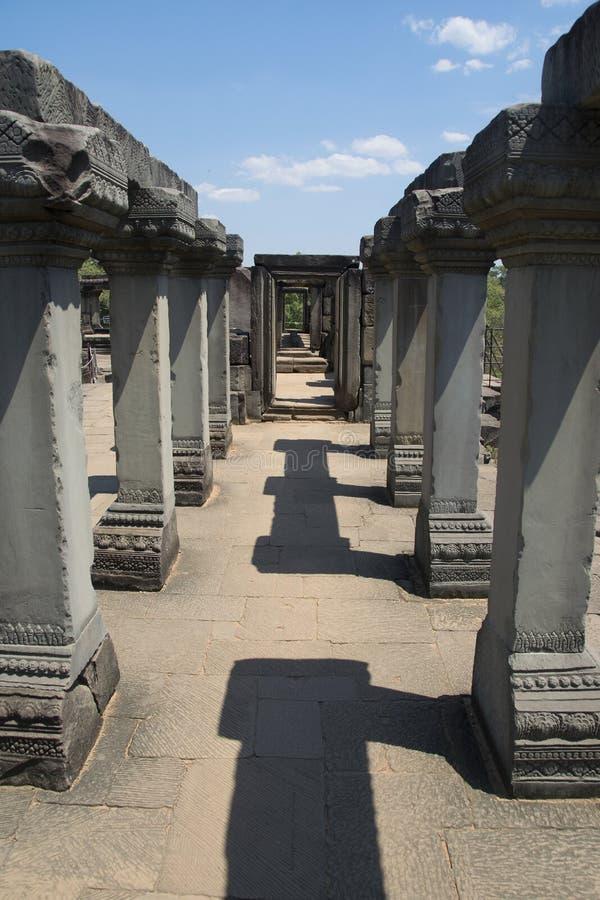 Angkor watt - tempel för Ta Prohm fördärva väggar av en khmerstaden av Angkor Wat - statlig monument royaltyfri fotografi