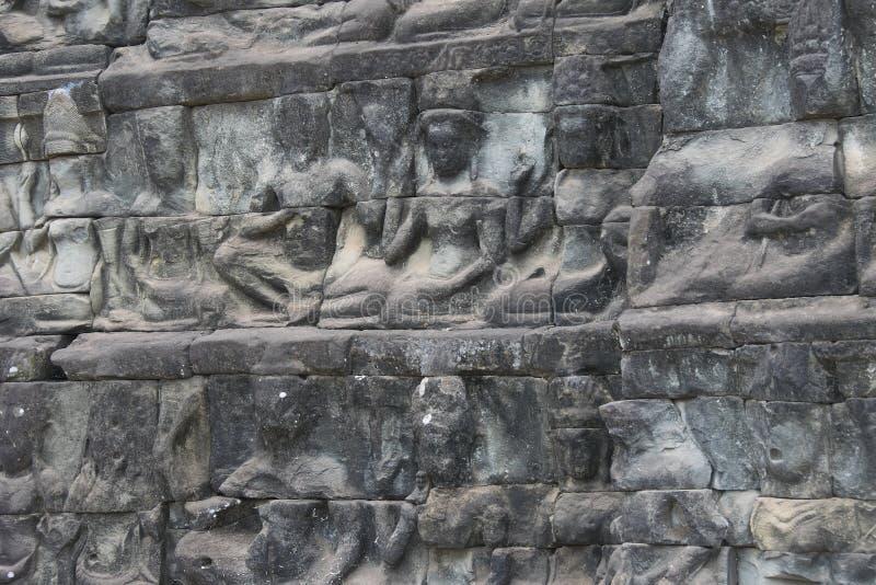 Angkor-Watt - Tempel-Ruinenwände Ta Prohm der Khmerstadt von Angkor Wat - geben Sie Monument an lizenzfreie stockfotos