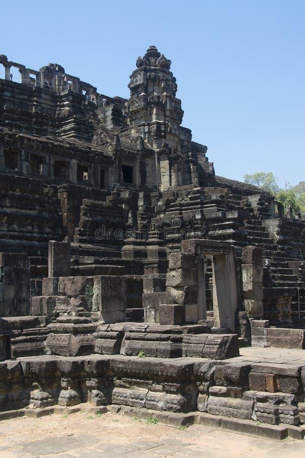 Angkor-Watt - Tempel-Ruinenwände Ta Prohm der Khmerstadt von Angkor Wat - geben Sie Monument an stockfoto