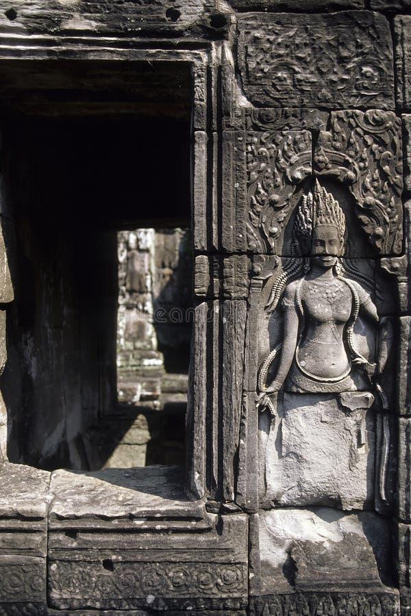 angkorbascambodia lättnad fördärvar wat royaltyfri fotografi