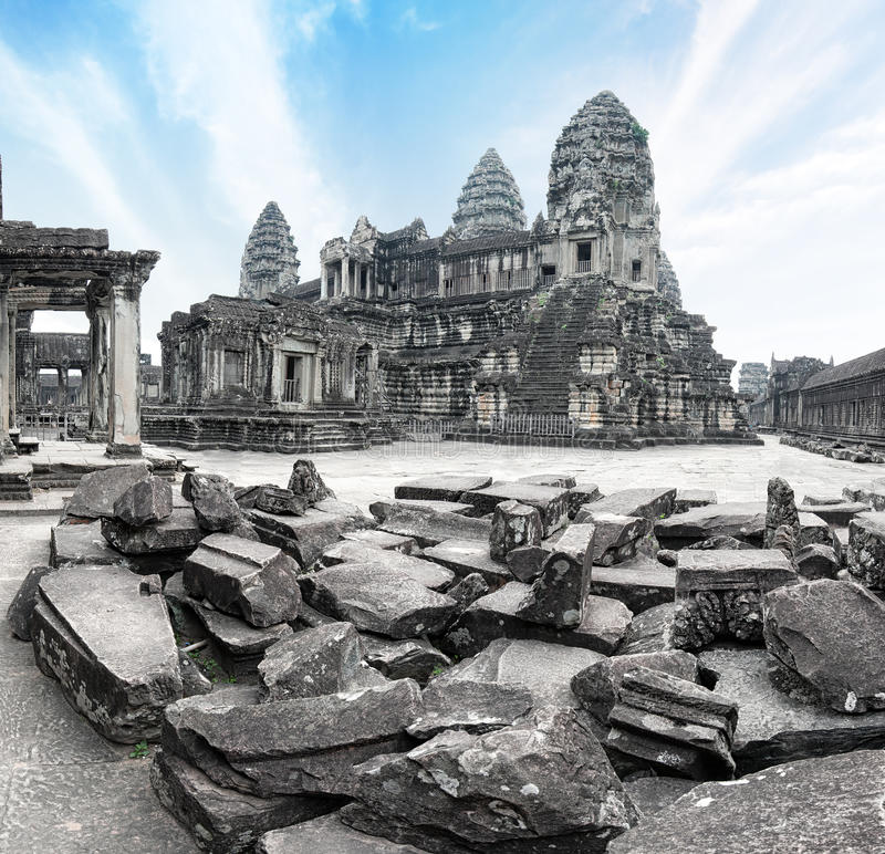 angkorcambodia wat Angkor Thom en khmertempel arkivfoto
