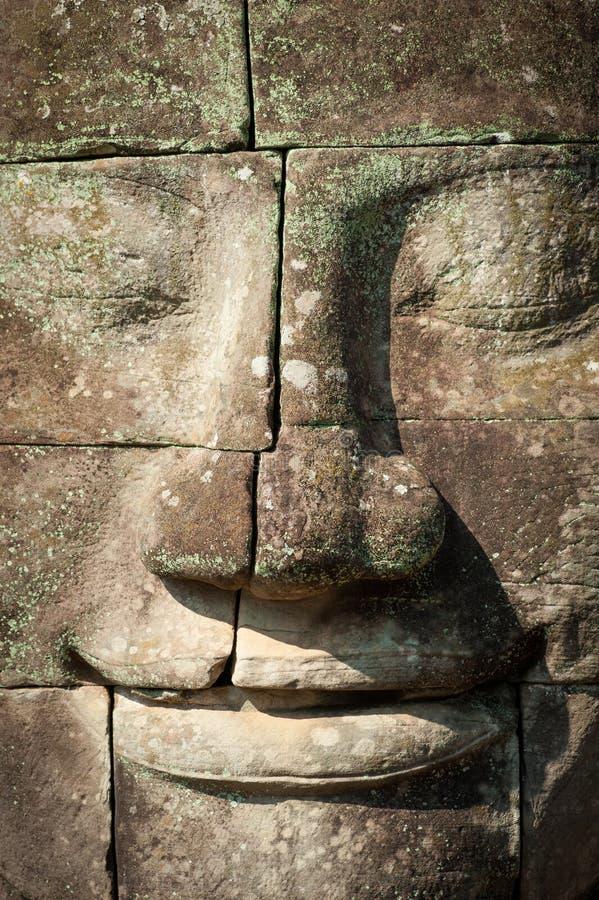 angkorcambodia wat Bayon tempel i Angkor Thom arkivbilder