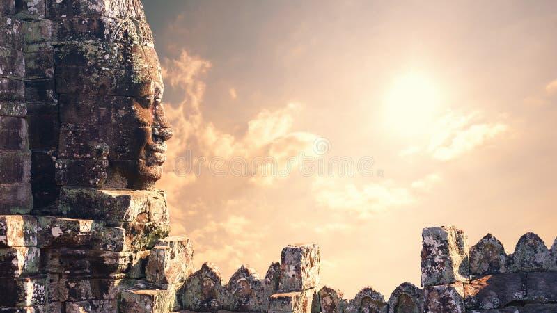 angkorcambodia wat Bayon tempel i Angkor Thom arkivfoto