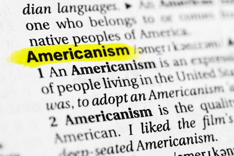 ` Anglais accentué d'Américanisme de ` de mot et sa définition dans le dictionnaire image libre de droits