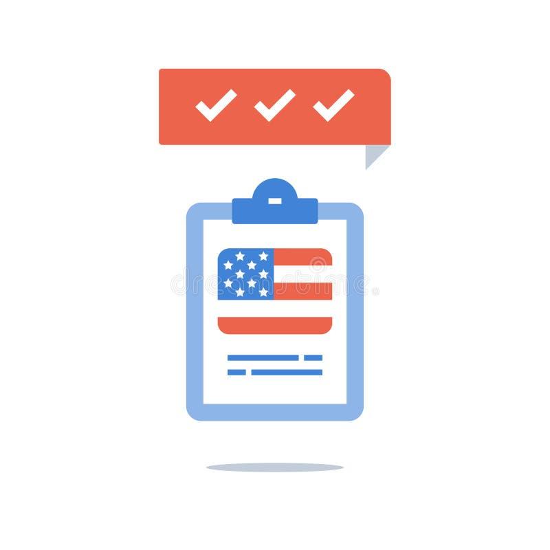Anglais américain, programme éducatif, cours de formation rapide, examen de passage, préparation d'essai, drapeau des Etats-Unis, illustration stock