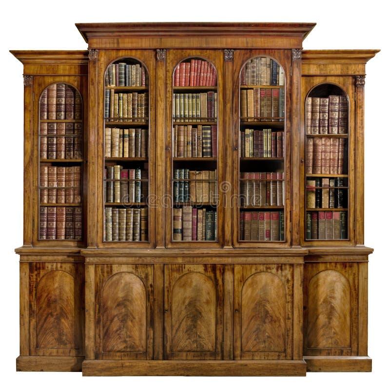 Anglais antique de breakfront de raboteuse de bibliothèque le vieil avec des livres image stock