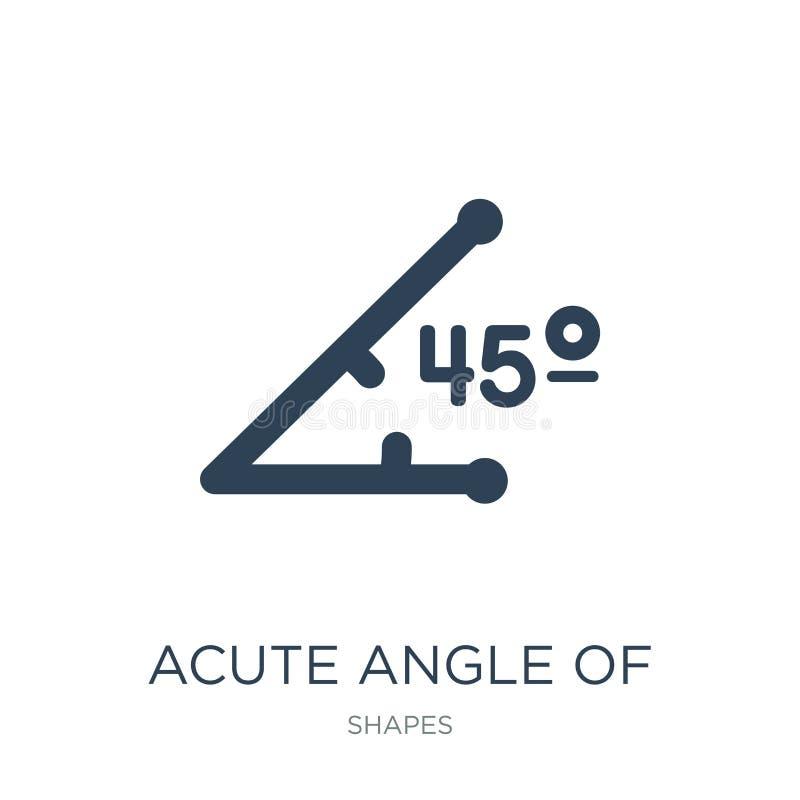 angle aigu de 45 degrés d'icône dans le style à la mode de conception angle aigu de 45 degrés d'icône d'isolement sur le fond bla illustration libre de droits