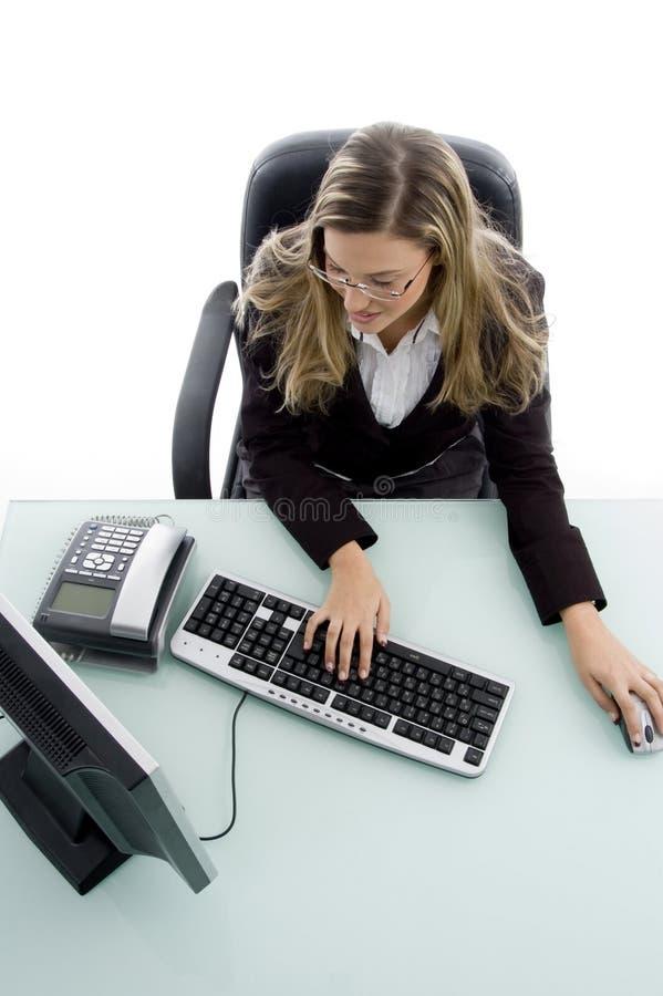angle computer high view woman working στοκ εικόνα