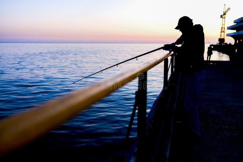 Angle de pêcheur à la couchette image stock