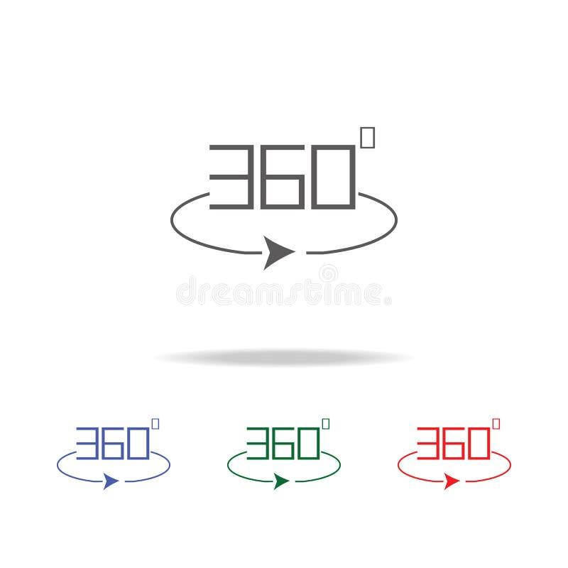 Angle 360 degrés d'icône de signe Éléments d'appareil-photo de photo dans les icônes colorées multi Icône de la meilleure qualité illustration libre de droits
