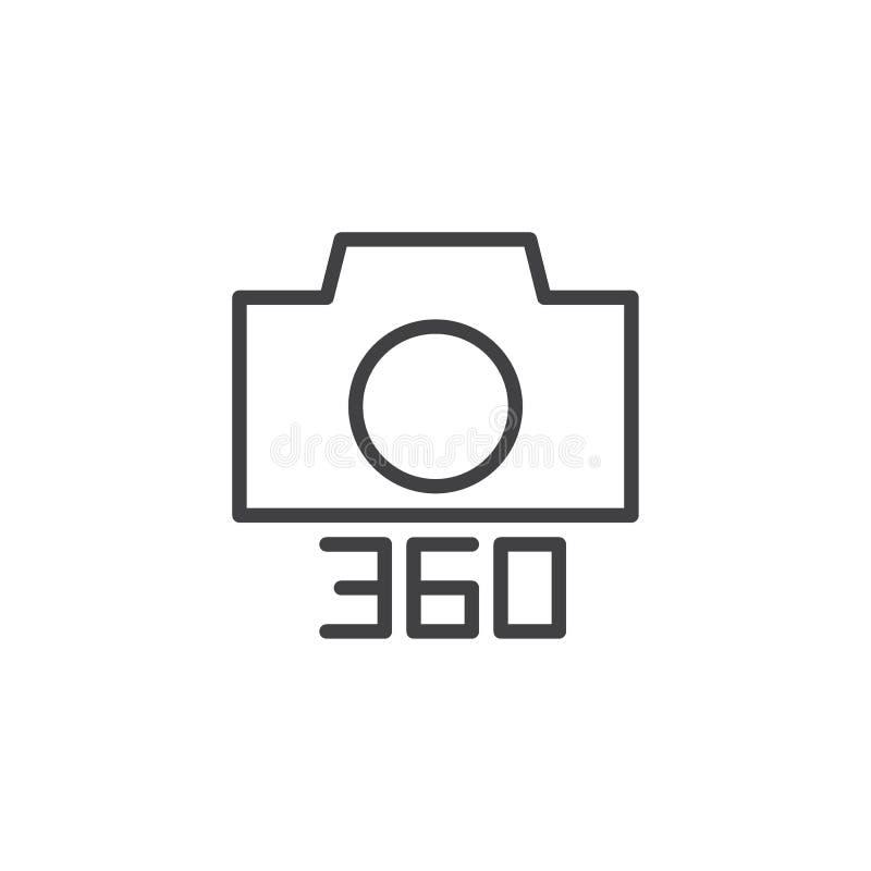 Angle 360 degrés de photo d'appareil-photo d'icône d'ensemble illustration stock