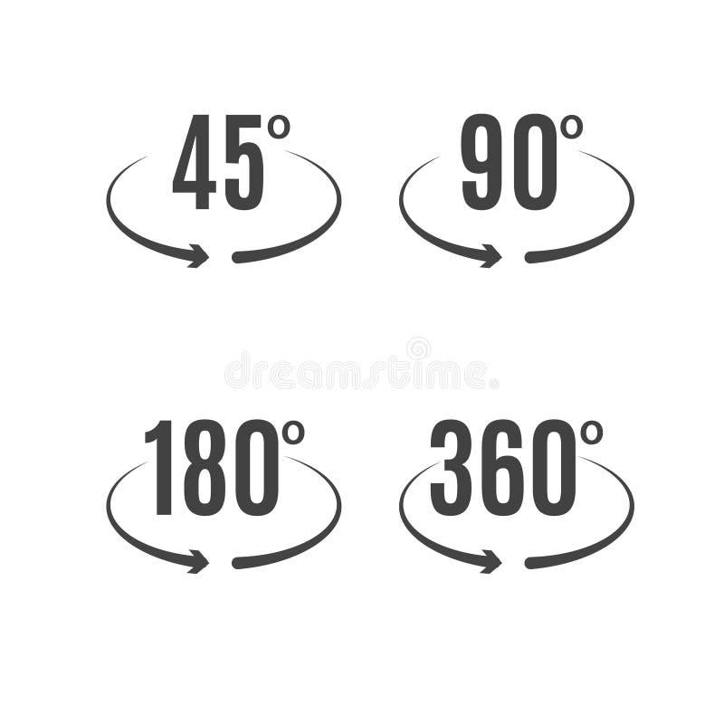 Angle Degrees Icons Vector Design Arrows Rotation Circle Symbol