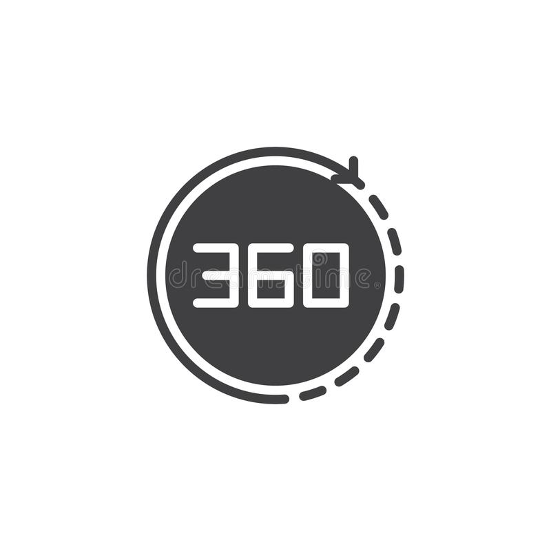 Angle 360 degrees vector icon stock illustration