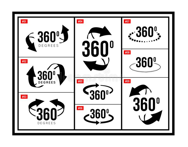Angle 360 degrees view sign icon. Vector illustration set vector illustration