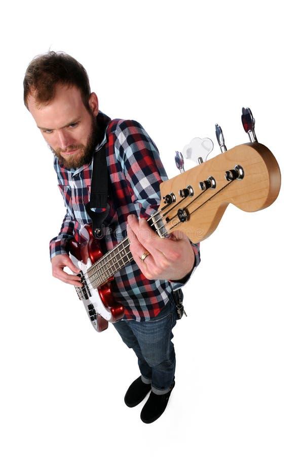 angle den höga spelare för gitarren fotografering för bildbyråer