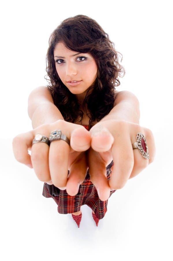 angle female high pointing view στοκ εικόνα με δικαίωμα ελεύθερης χρήσης