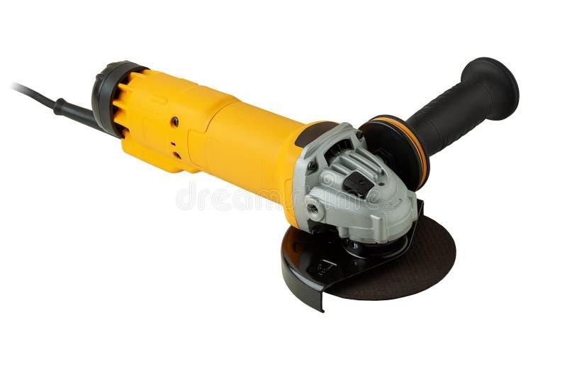 Angle grinder isolated on white background. Modern, compact angle grinder isolated on white background royalty free stock image