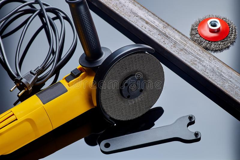 Angle grinder for metal on dark background close-up stock photos