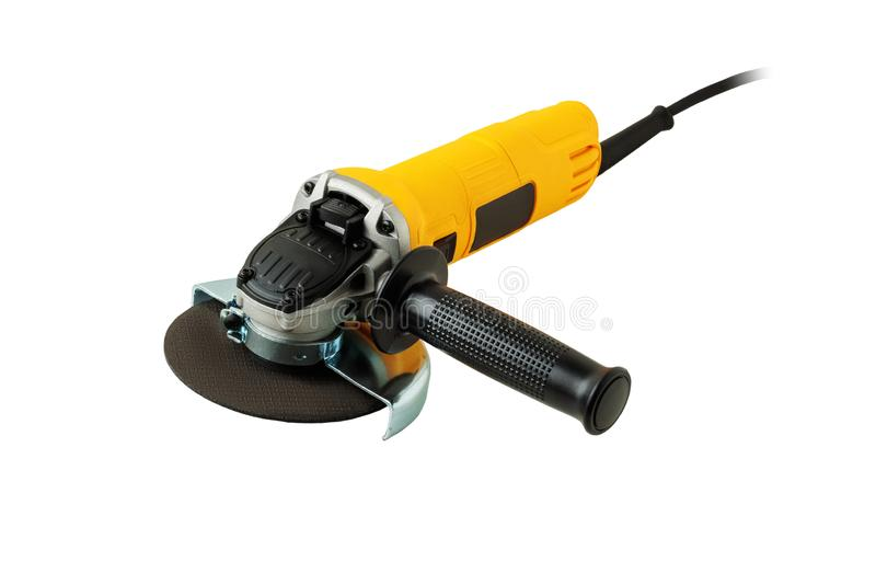Angle grinder on white background. Modern, compact angle grinder isolated on white background royalty free stock images