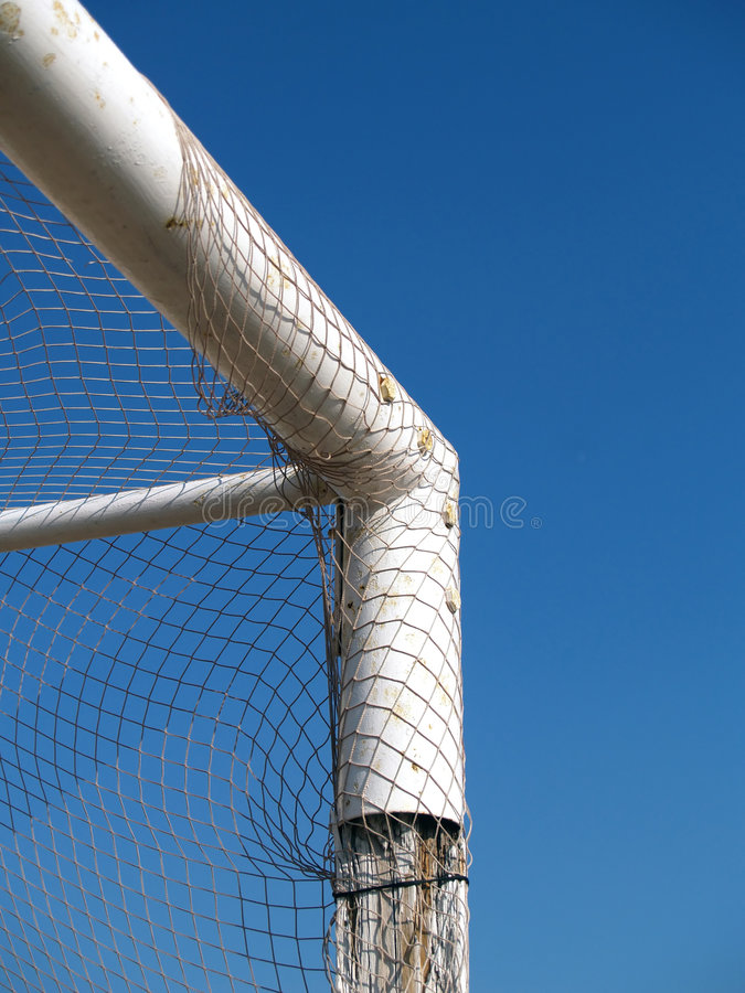 Angle of a soccer goal royalty free stock photos