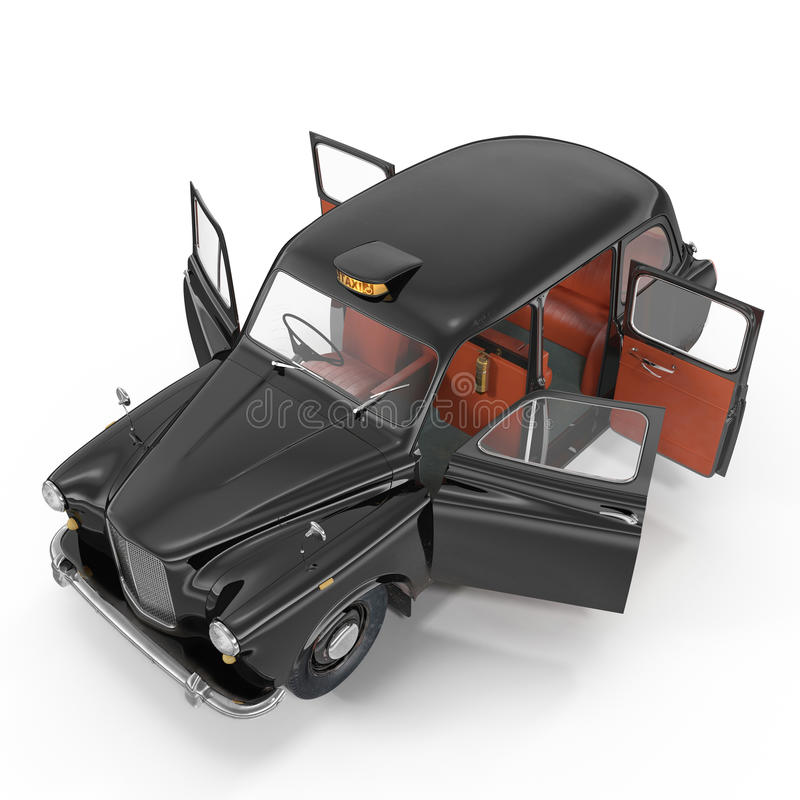 Angle from up hackney carriage on white. Doors opened. 3D illustration vector illustration