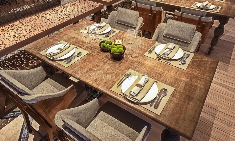 Angle view of table setup for modern Arabic restaurant, concept, wooden distressed table, 3d render stock images