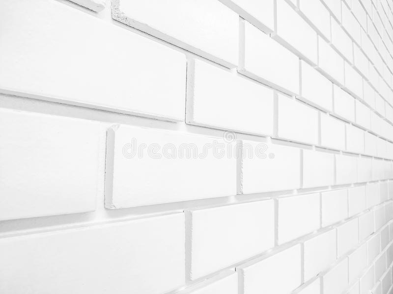 Angle view of white brick wall royalty free stock images