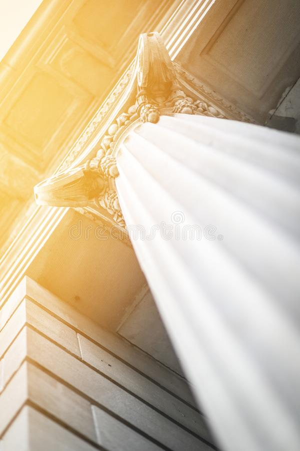 Angled Classic Courthouse Column Building At Sunset stock images