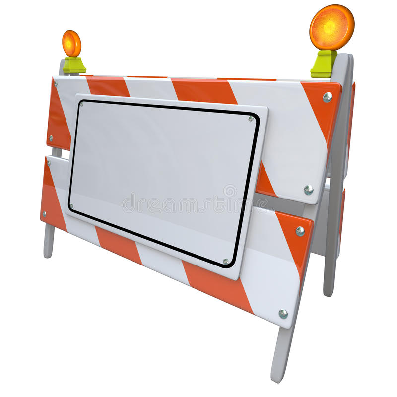 Angled Construction Road Barrier Barricade Sign Blank Copy Space. Construction or road barrier sign on an angle with white blank copy space for placing your royalty free illustration