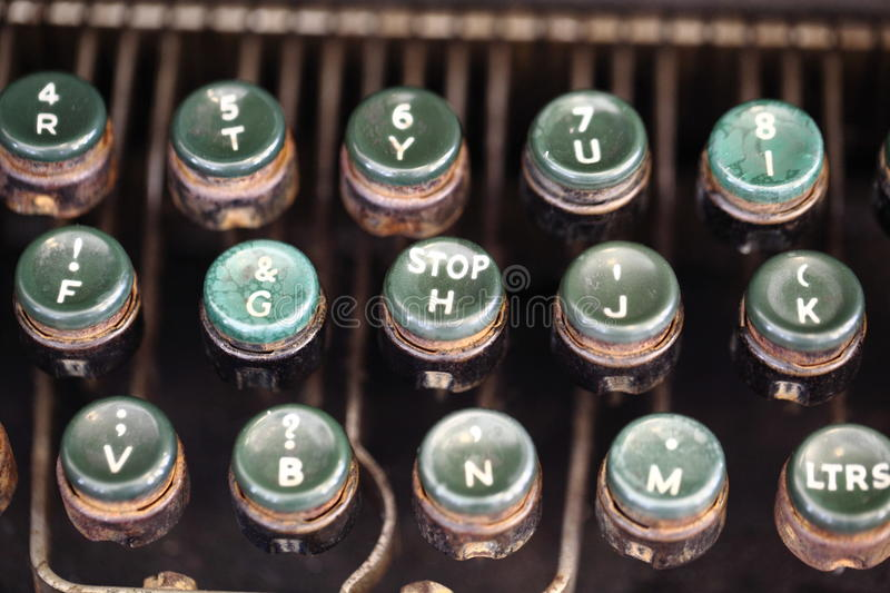 Angled shot of keys on an antique typewriter. stock image