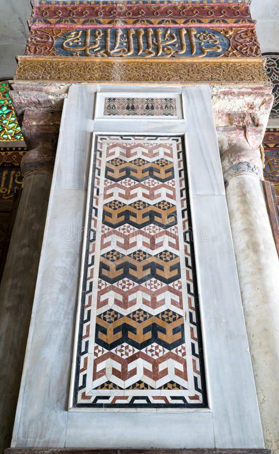 Angled view of an architectural detail of a decorative mosaic colored panel stock photography