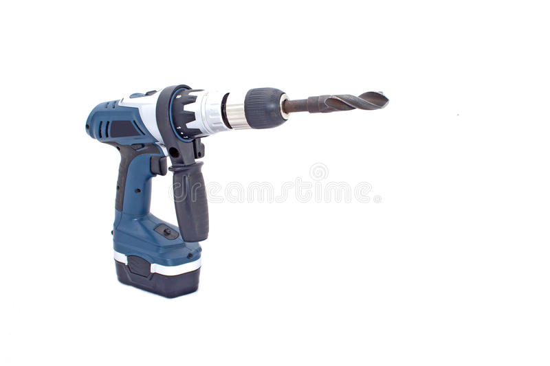 Angled View of Battery Powered Drilling Machine. Isolated on white battery powered drilling machine with drill bit royalty free stock image