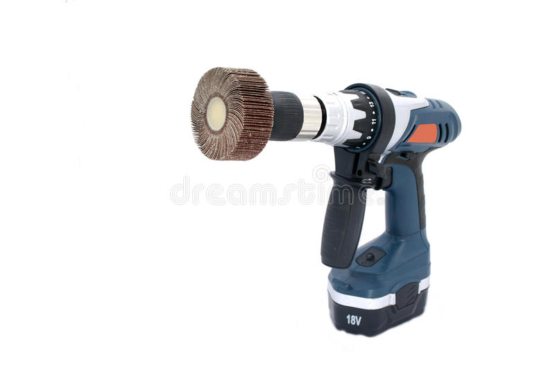 Angled View Of Drilling Machine With Flap Wheel Stock Image