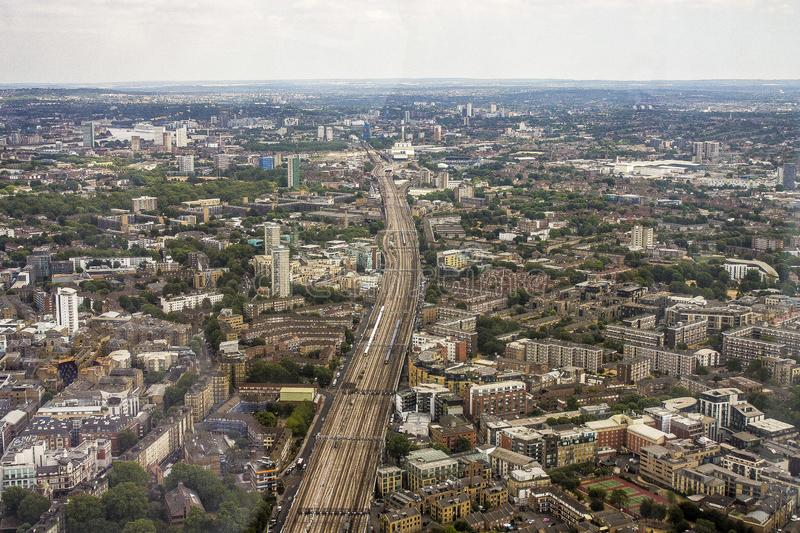 Angled view of London town from above stock photos