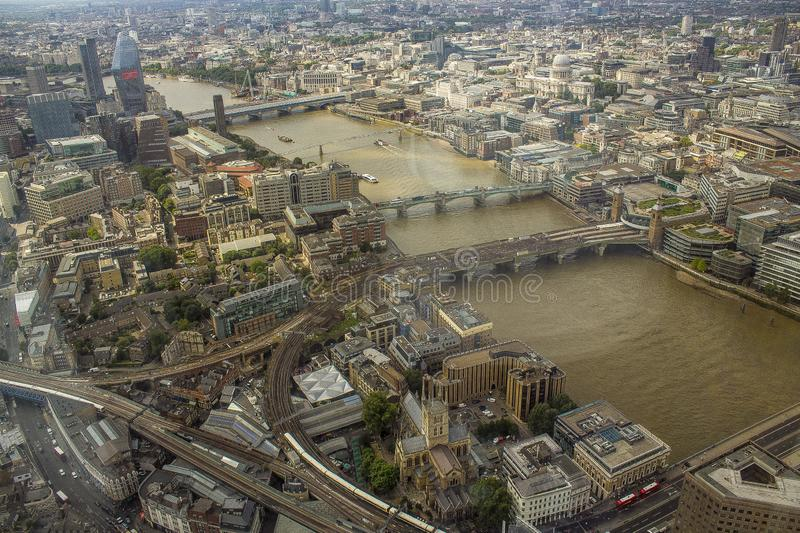 Angled view of London town from above. For use as wallpaper stock image