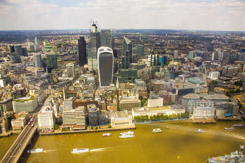 Angled view of London town from above. For use as wallpaper royalty free stock photo