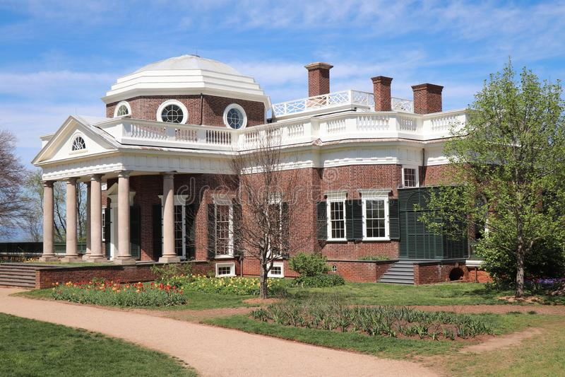 Angled View of Thomas Jefferson`s Monticello. View of Thomas Jefferson`s Monticello home in Virginia in Springtime royalty free stock photos