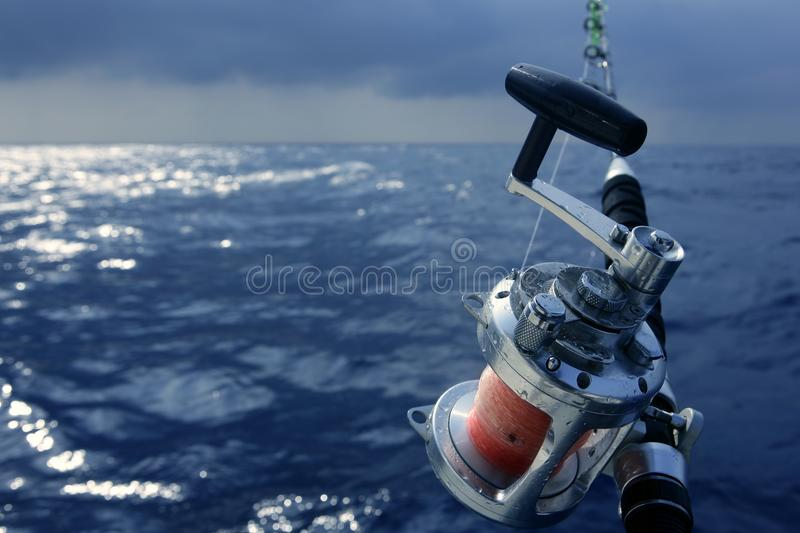 Angler boat big game fishing in saltwater royalty free stock photo