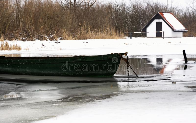 Angler boat on river Zala in witertime stock photos