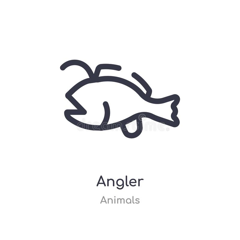 angler outline icon. isolated line vector illustration from animals collection. editable thin stroke angler icon on white stock illustration