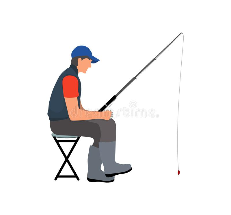 Free Angler With Fishing Tackle Waiting For Fish Poster Royalty Free Stock Photo - 129998685